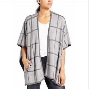 Athleta Merino Wool Windowpane Plaid Poncho